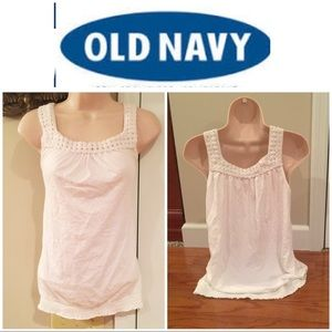 Old Navy white crochet trip top w banded bottom